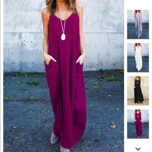Dresses & Skirts - BNWT Linen Pockets Magenta Flare Slip Dress XL